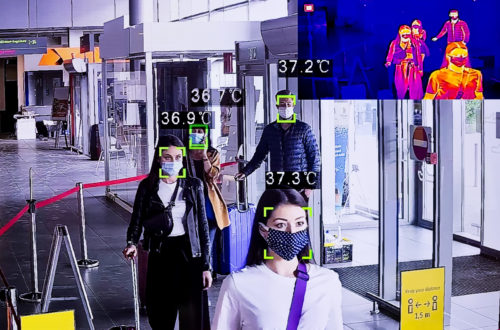 Monitoring view of temperature measurement at the airport. People traveling by airplane during COVID 19, wearing N95 face masks, waiting in line at airport terminal, keeping distance.
