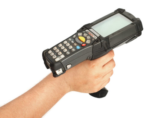 Hand holding bar code scanner.My other similar images